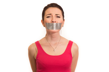 woman in red gaffer tape on mouth experiencing emotional pain