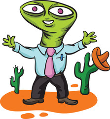 alien businessman in mexican landscape