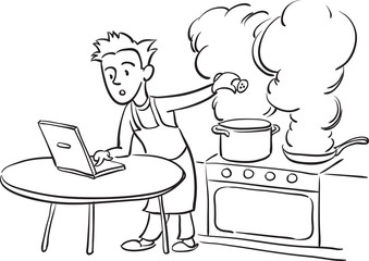 whiteboard drawing - man cooking with laptop computer