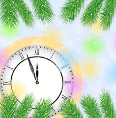 clock and branches of tree on a christmas background