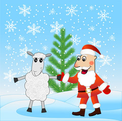 Santa claus and sheep near a fir-tree