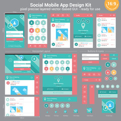 Social Mobile App Design Kit - pixel precise layered vector-base