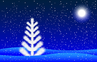 winter night landscape with a fir-tree and moon