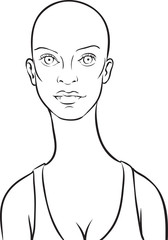 whiteboard drawing - cartoon bald woman