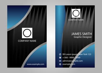 Black blue vertical vector business card set
