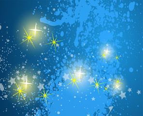 Blue Abstract background. Night sky with stars