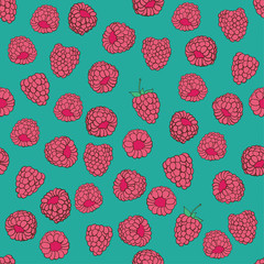 seamless pattern of delicious ripe raspberries