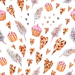 Watercolor pattern with cupcake, feather and hearts