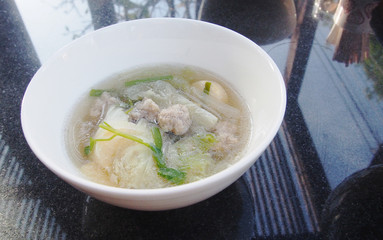 Cabbage , tofu and minced pork soup