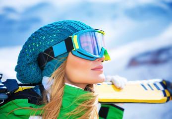 Beautiful skier girl portrait