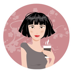 Girl drinking coffee. Vector illustration