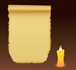 Old antique paper manuscript with candle on brown background.