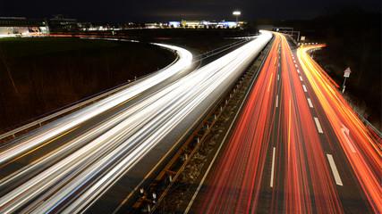 German highway at evening
