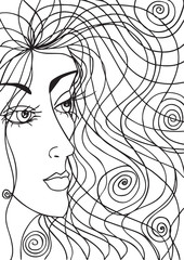 Abstract sketch of woman face