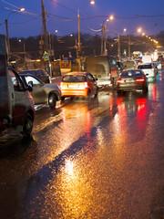 traffic jams in rainy evening
