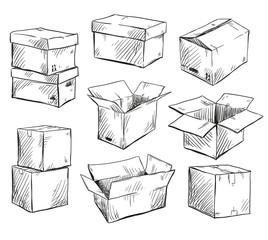 set of doodle cardboard boxes. Vector illustration.