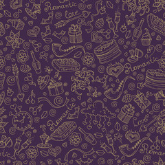 Vector pattern with hand drawn romantic symbols in purple