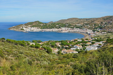 Mediterranean bay with Spanish village Costa Brava