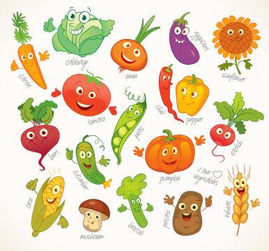 Vegetables. Funny cartoon character