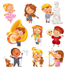 Hobbies. Funny cartoon character