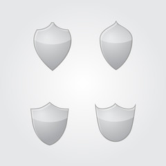 Vector set of modern gray glass shields.