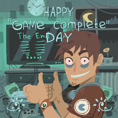 Happy game complete day greeting card.