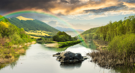 forest river with stones and grass with rainbow