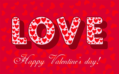 Valentines day card with LOVE word