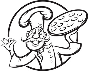 whiteboard drawing - cartoon pizza chef mascot