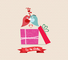 Valentine's Day love greeting card with bird couple gift