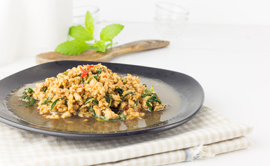 Thai spicy food  Stir fried chicken with basil