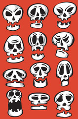Set of emoticon cartoon skulls