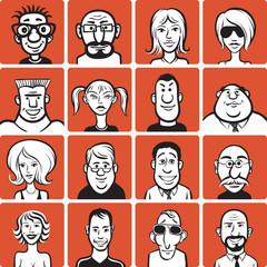 doodle faces set