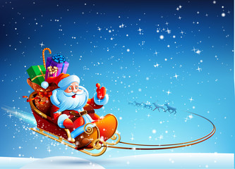 Santa Claus in a sleigh pulled by reindeer flying