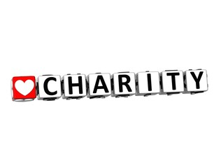 3D Word Charity on white background
