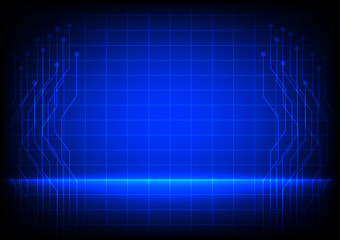 Abstract  electronic line on blue background