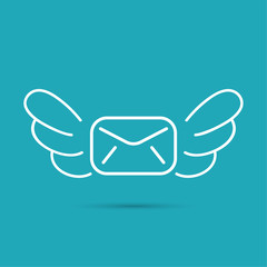 Envelope with wings.
