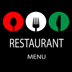Simple Italian Restaurant Menu with Utensils