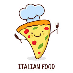 Cute cartoon smiling piece of pizza. Vector illustration. Concep