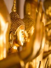 Buddha statues , Face of gold buddha, Thailand