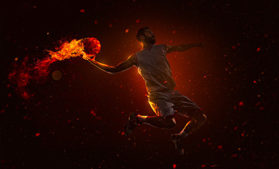 Professional basketball player with fireball