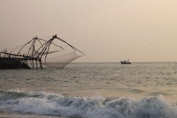 Pesca con le reti in Kerala