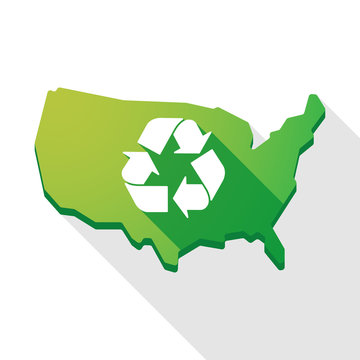 USA map icon with a recycle sign