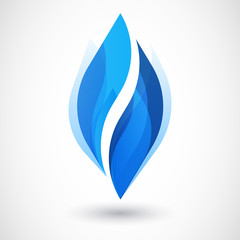 Vector logo design template. Abstract blue water drop, wave shap