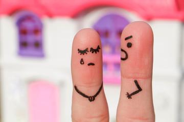 Finger art of a  couple during quarrel.