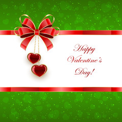 Green Valentines background with hearts and bow