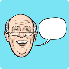 laughing senior man with speech bubble