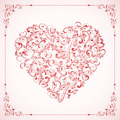 Valentines card with ornate Heart and frame