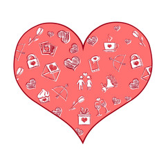 Vector Cartoon Heart with Valentines Pattern Fill