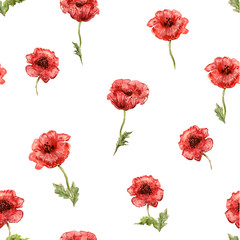 seamless texture with watercolor painting of poppies